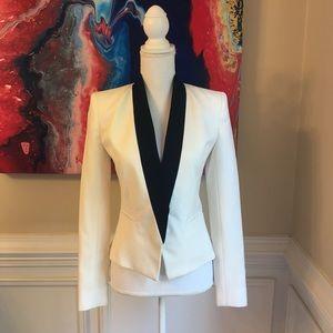 ALC Cream & Black Wool Fitted Tuxedo Blazer